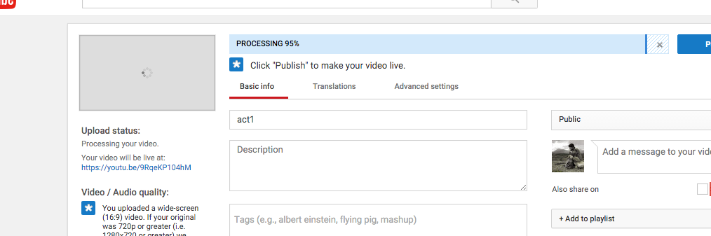 The window that appears when a video is no longer uploading and is now processing.
