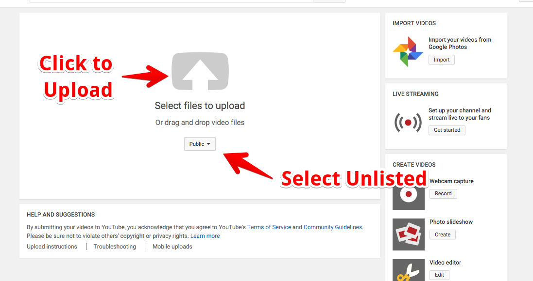 """The upload dialogue that appears when the upload button has been clicked, with the directions to """"Click to Upload"""" and """"Select Unlisted from the dropdown"""""""