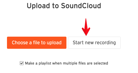 start a new recording button in Soundcloud